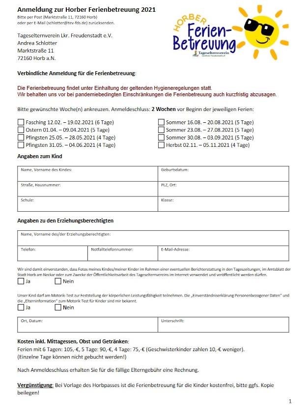 Anmeldung zur Ferienbetreuung alle Ferien 2021 mit Infoblatt