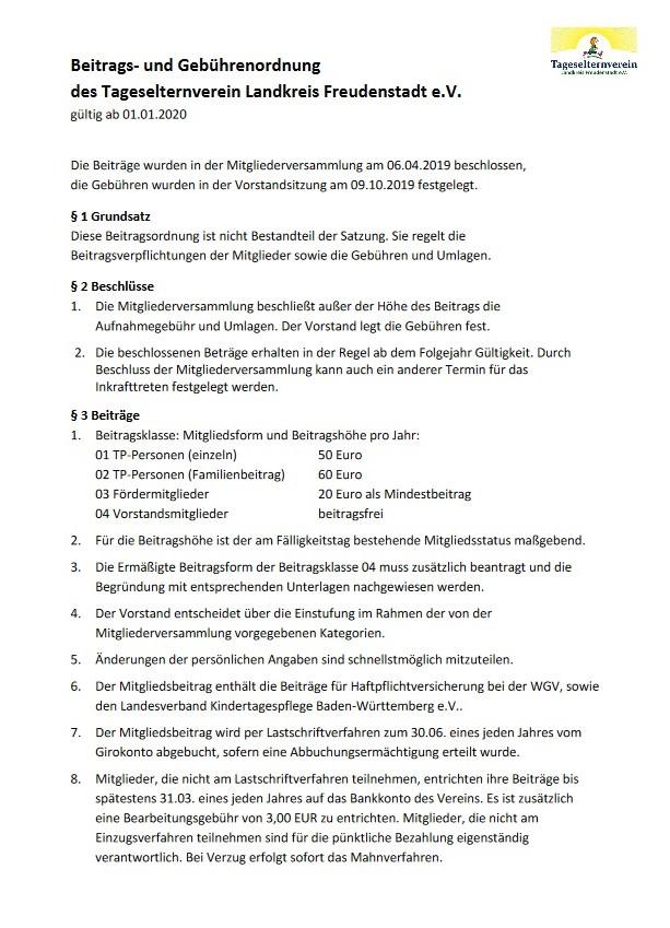 Beitrags- und Gebührenordnung TEV
