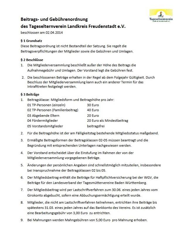 Beitragsordnung TEV