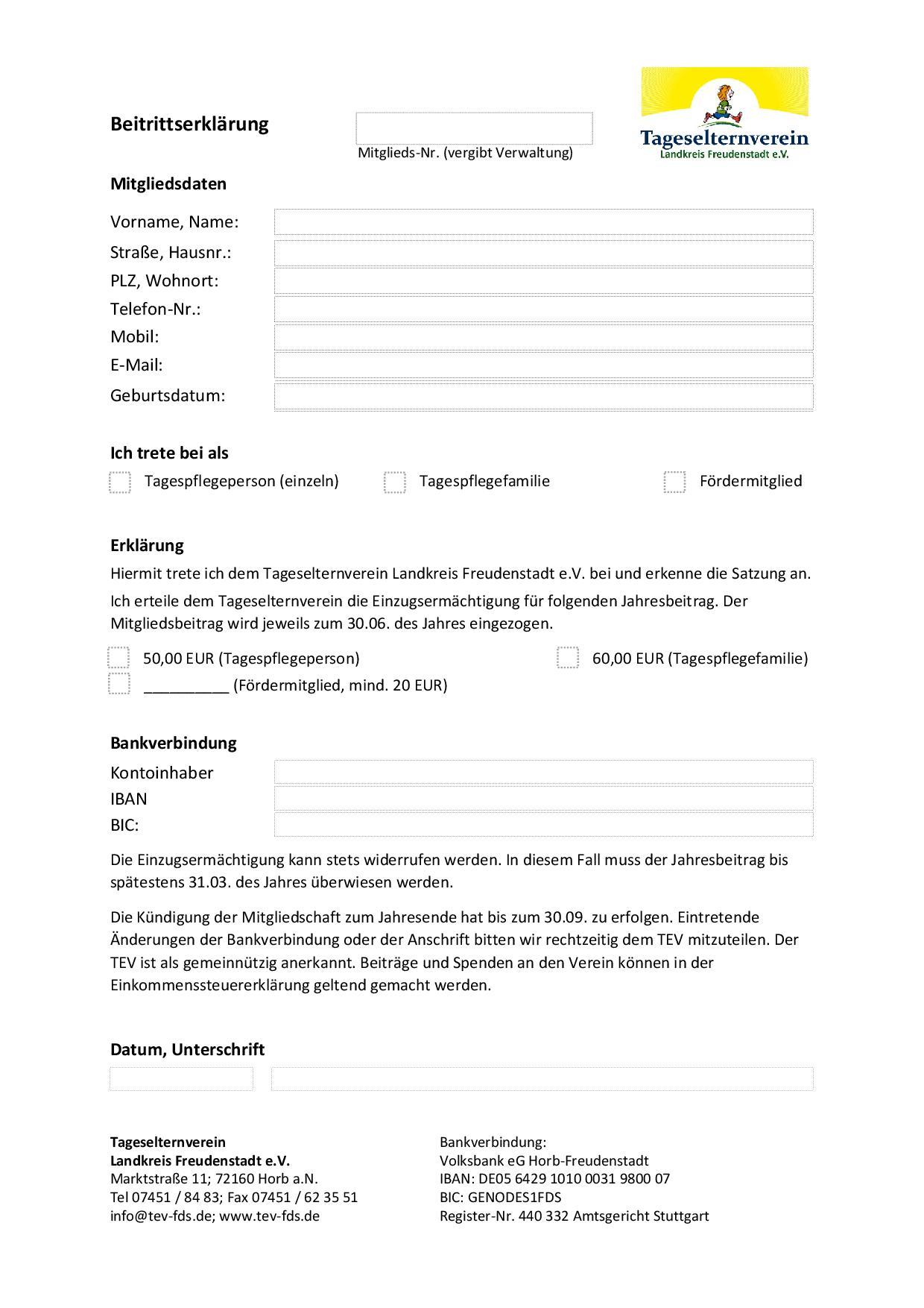 Beitrittserklärung Tageselternverein Landkreis Freudenstadt e.V.