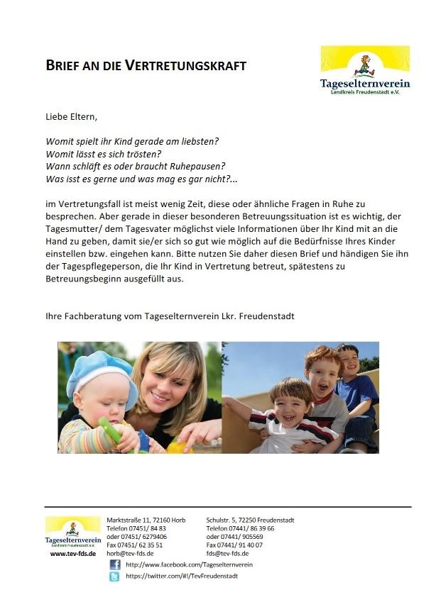Brief an die Vertretungskraft