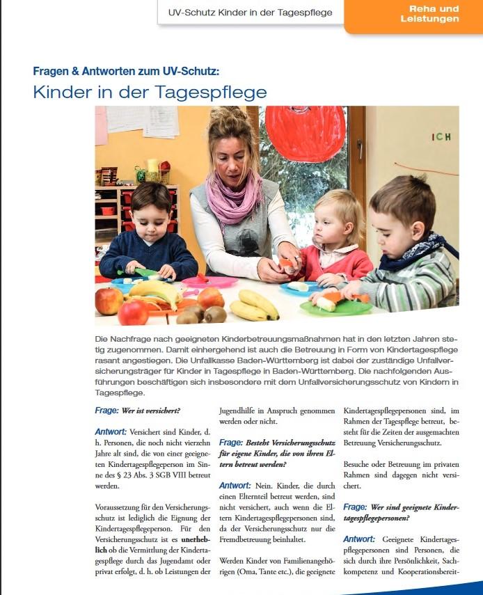 Infoblatt UKBW Kinder in der Tagespflege