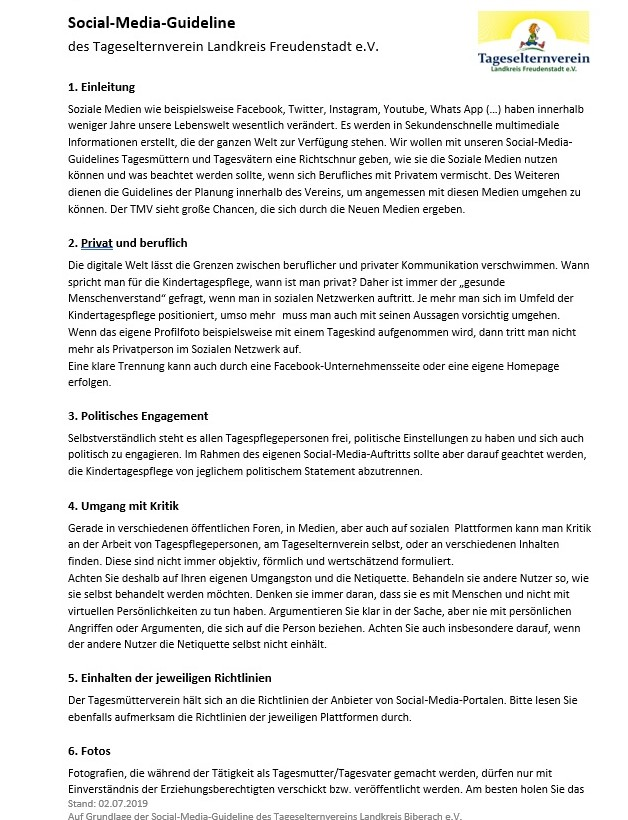 Social-Media-Guideline für Tageseltern